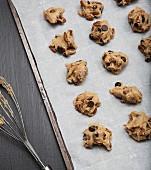 Ungebackene Chocolatechip-Pecannuss-Cookies auf Backpapier