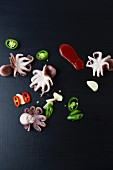 Octopus, jalapeños, garlic and tomato sauce