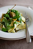 Pappadelle with courgette, lemons, basil, giant capers and rocket