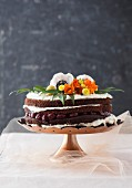 Black Forest Gateau decorated with flowers