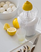 Lemons with a juicer and mushrooms