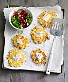 Mini potato and pear fritters served with a beetroot salad