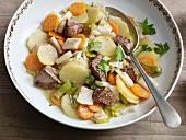 Pichelsteiner stew with beef fillet