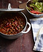Chilli con carne with peppers and kidney beans