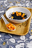 Black coconut sticky rice with mango from Singapore