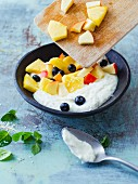 Coconut quark with exotic fruit salad