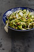 Italian courgette salad with fresh mini and hazelnuts