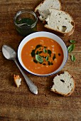 Italian tomato soup with rice and basil oil