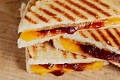 A toasted cheese and jam sandwich (USA)