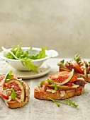 Bruschetta with tomatoes and figs