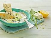 Wild garlic tzatziki with feta cheese
