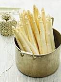 White asparagus in a pot