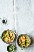 Indian pea stew with tomatoes, potatoes and turmeric