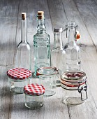 Empty bottles and glasses for making preserves