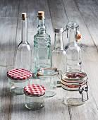 Empty bottles and glasses for making preserves