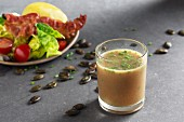 Styrian salad dressing made from honey, pumpkin seed oil and Dijon mustard