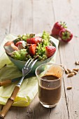 Honey and balsamic dressing for a summer salad with strawberries