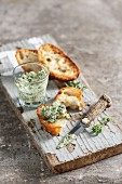 Frankfurt herb pesto on fresh baguette