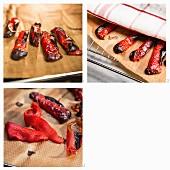 Rote Paprikaschoten grillen und häuten
