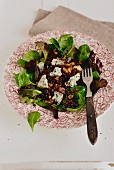 French beluga lentil salad with anchovies, dried fruit and bleu d'Auvergne cheese