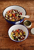Greek-style wheat salad with olives, cucumber and feta cheese