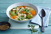 Carrot and pointed cabbage stew with smoked tofu