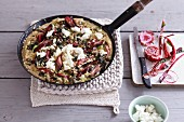 Frittata with red-stemmed chard and sheep's cheese