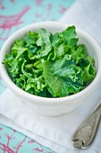 A bowl of freshly chopped green kale