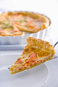 Salmon tart with egg custard and dill