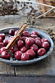 Preserved cherries with cinnamon sticks