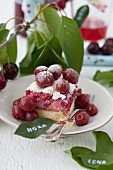 Cherry and redcurrant cake with meringue