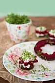 Pumpernickel canapés with flower-shaped beetroot, cream cheese and cress