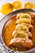 Salmon in lemon aspic