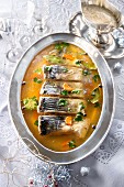 Carp in aspic with horseradish sauce