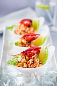 Crayfish salad with coriander and lime on ice