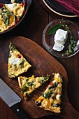 Vegetable fritatta with goat's cheese