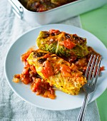 Savoy cabbage parcel filled with tomatoes, Parmesan and sun wheat