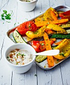 Mediterranean oven-roasted vegetables with tomato and olive quark