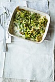 Romanesco broccoli and cauliflower gratin with pepper cream
