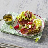 A corned beef sandwich with celery and radishes