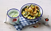 Turkey gyros with courgette and tzatziki