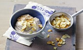 Cinnamon quark with roasted, flaked almonds