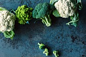 Cauliflower, broccoli and romanesco broccoli