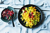 Oriental turmeric rice with a pomegranate seed salsa