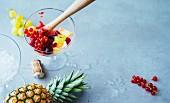 Früchte mit Stössel im Cocktailglas für Drinks aus der Mini-Hausbar