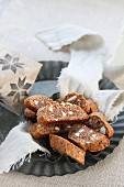 Gluten-free cantuccini, homemade biscuits made with almonds and honey