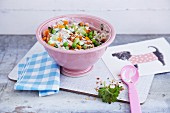 Confetti rice with peas and carrots
