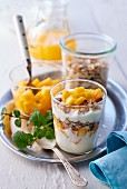 Yoghurt muesli with diced mango
