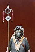 Battle of the Teutoburg Forest between the Romans and Tutons: costume and mask belonging to a Roman legionnaire