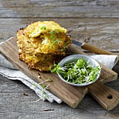 Celeriac cakes with fresh garden cress